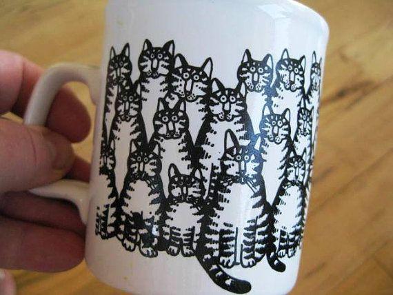 Retro Kiln Craft English Ironstone Cats Coffee Mug by ChinaGalore, $12.00