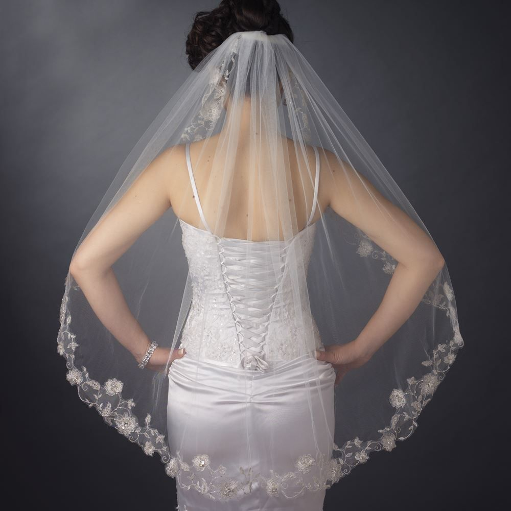 Single Layer Fingertip Length Silver Floral Embroidered Edge with Pearls & Bugle Beads Veil (2283)