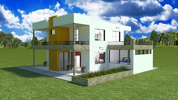 Disenos Y Planos Casa Moderna Dos Pisos Con Garaje Y Terraza 200 M2 Construidos Planos De Casas Modernas Planos De Casas Casa Moderna