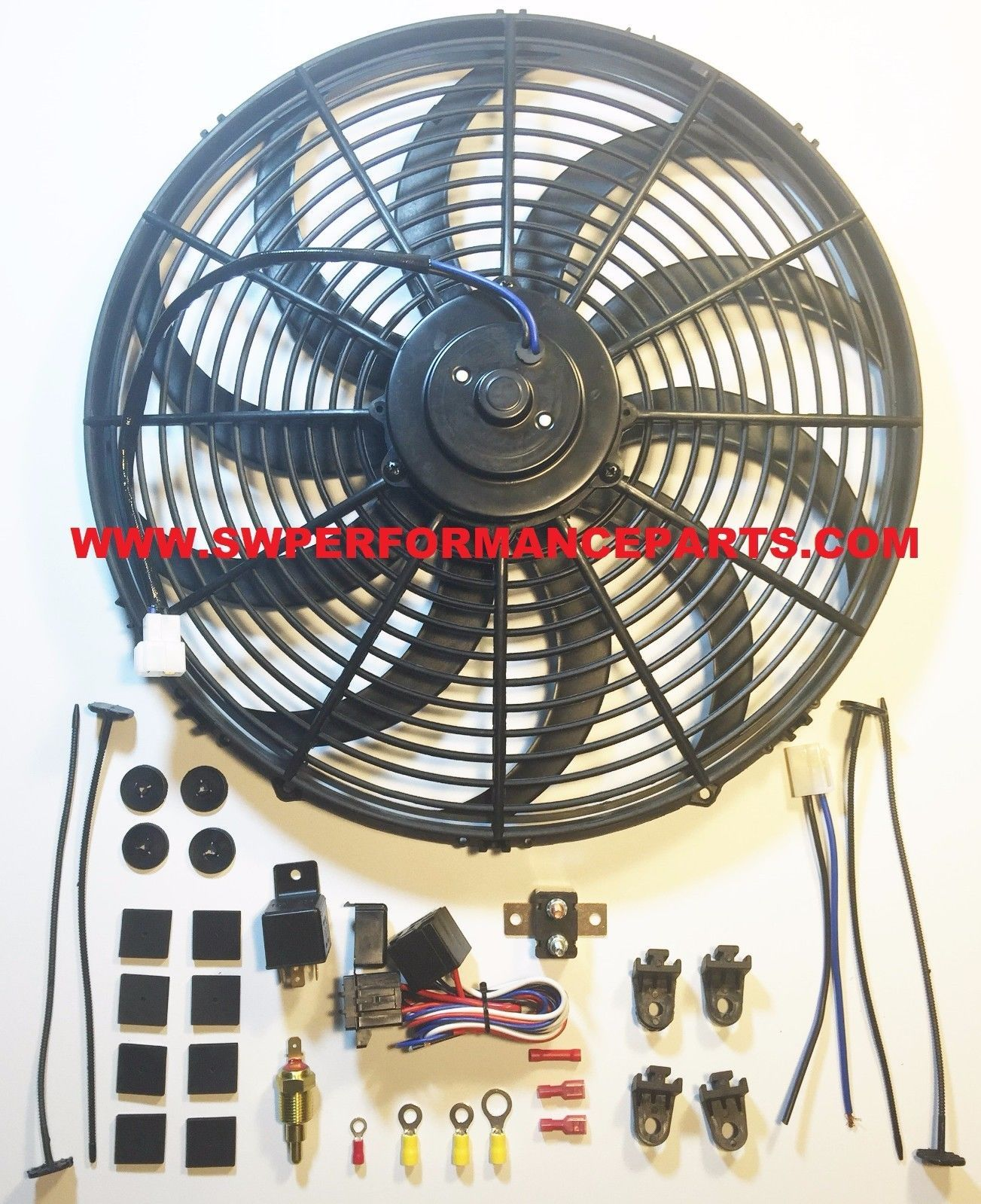 16 Electric Curved Blade Reversible Cooling Fan 12v 3000cfm Thermostat Kit Cooling Fan Electricity Fan