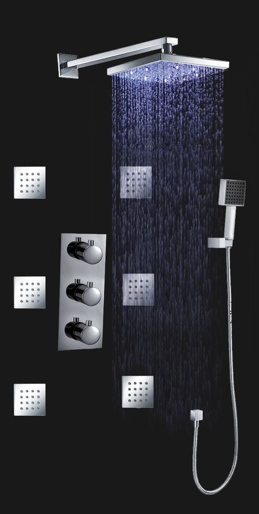 Thermostatic Shower Valve Led 8 Rain Shower Head Spa Body Massage