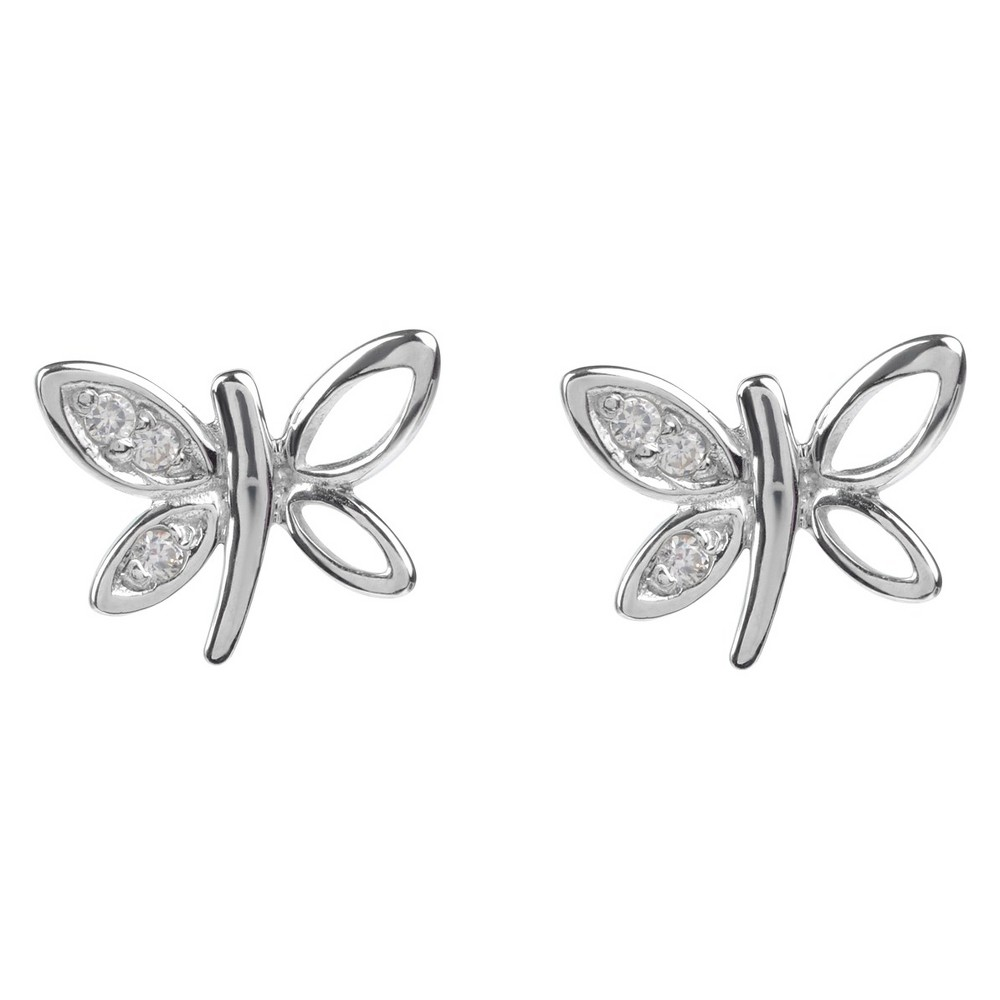 1/10 CT. T.W. Round-cut CZ Dragonfly Stud Pave Set Earrings in Sterling Silver - Silver, Women's