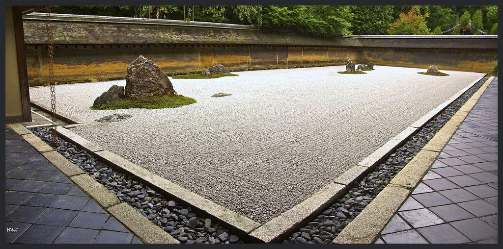 Panorama Zen Jardin De Pierre De Ryoan Ji Kyoto Japan Voyage
