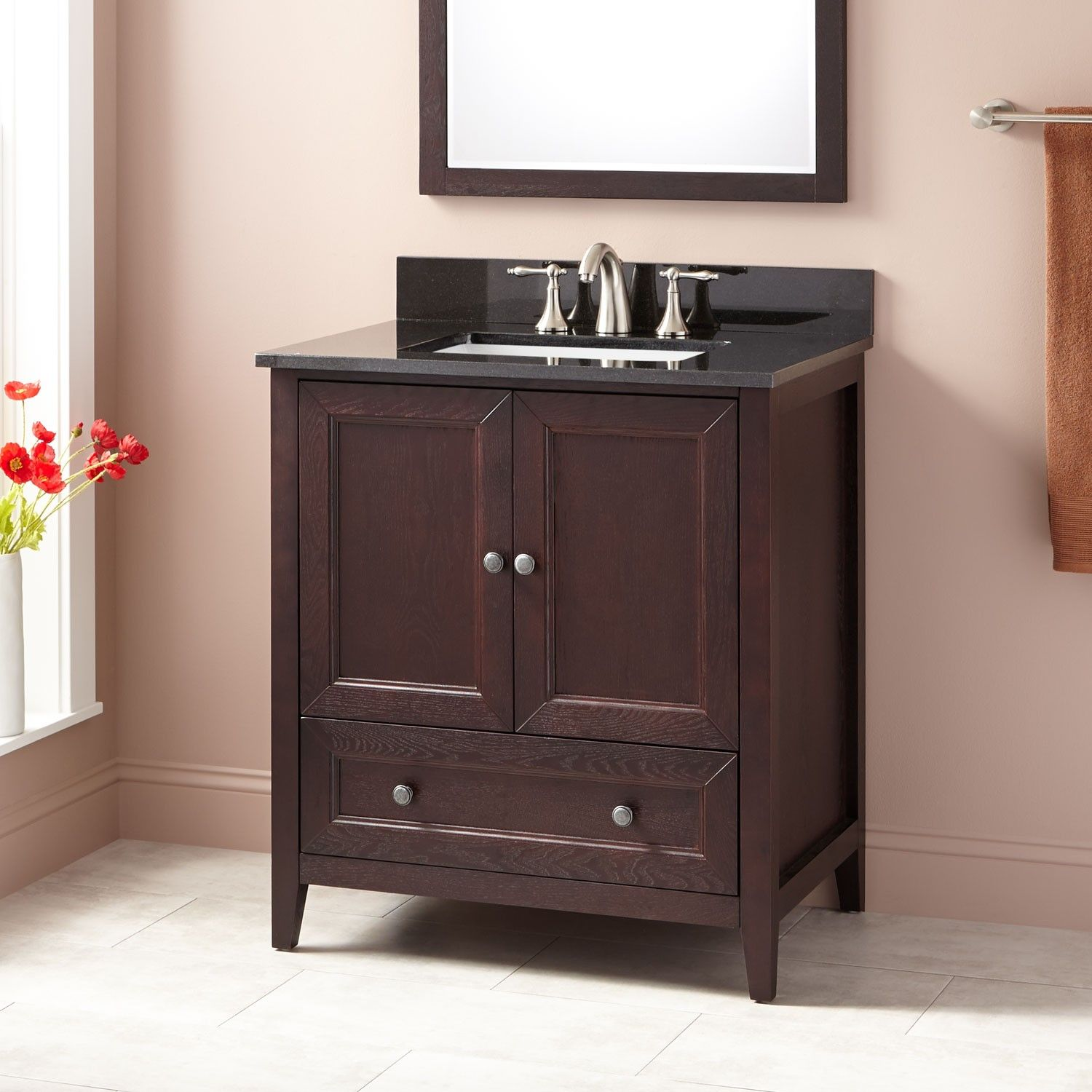 30 Kipley Vanity For Rectangular Undermount Sink Dark Cherry