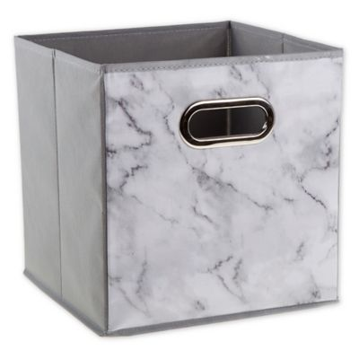 Relaxed Living Marble White 11 Inch Collapsible Storage Bin Collapsible Storage Bins Storage Bins Cube Storage Bins