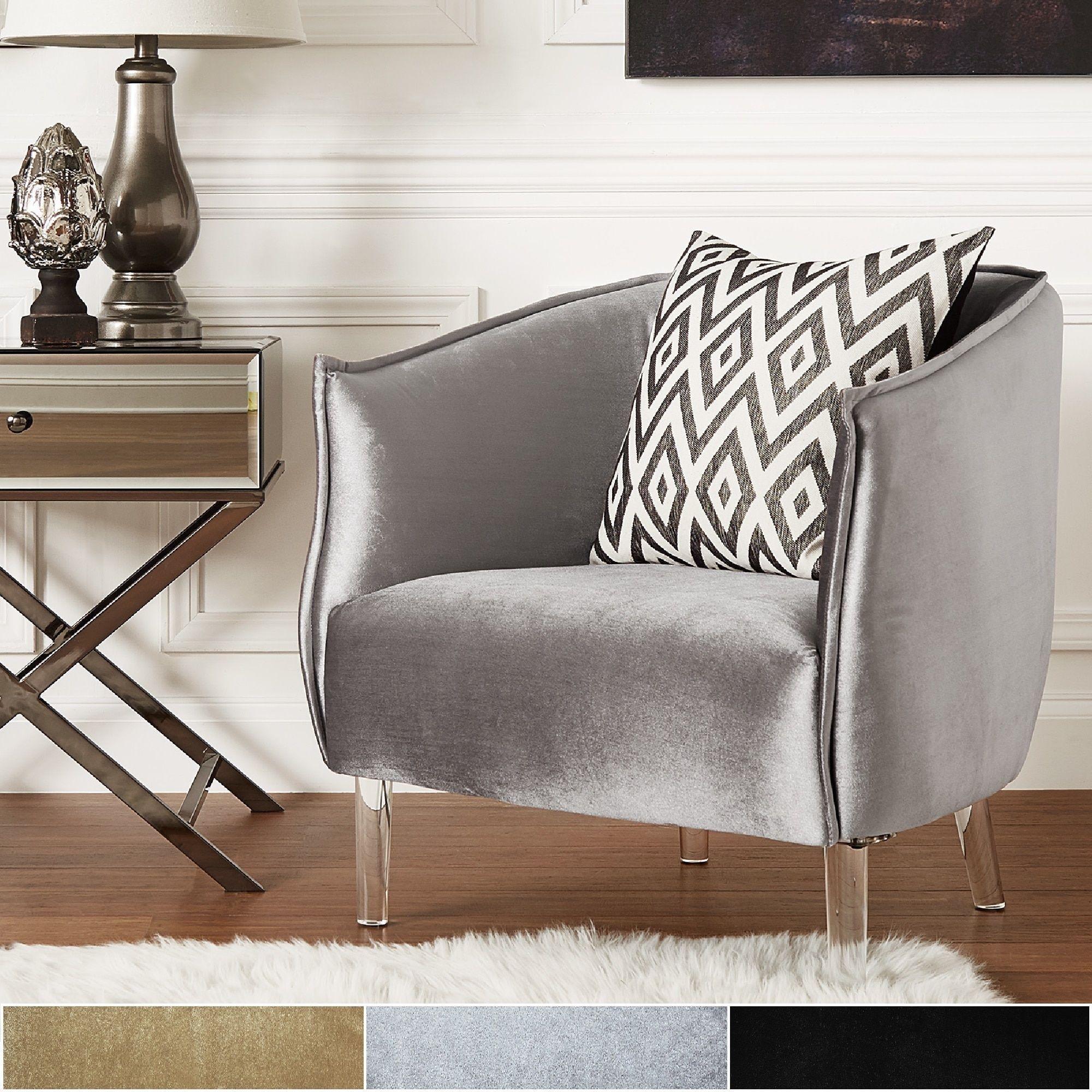 vianne velvet curved back acrylic leg accent chair by inspire q rh pinterest com