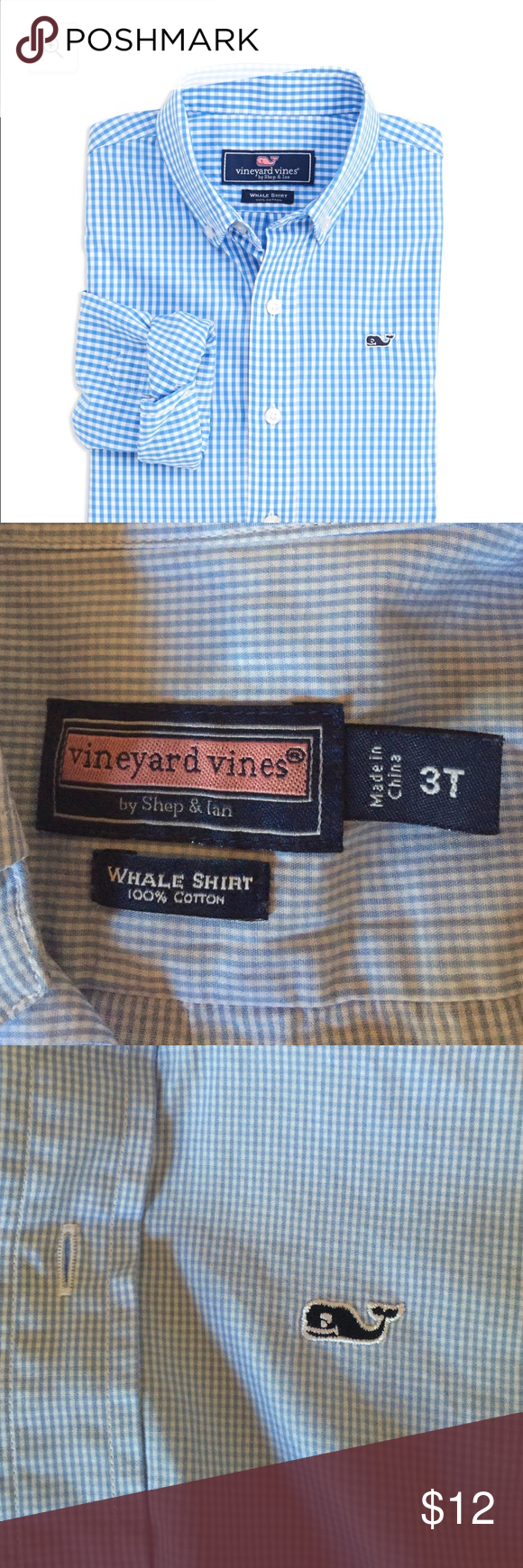 Boys Vineyard vines button down shirt Light blue gingham boys vineyard vines whale shirt Vineyard Vines Shirts & Tops Button Down Shirts