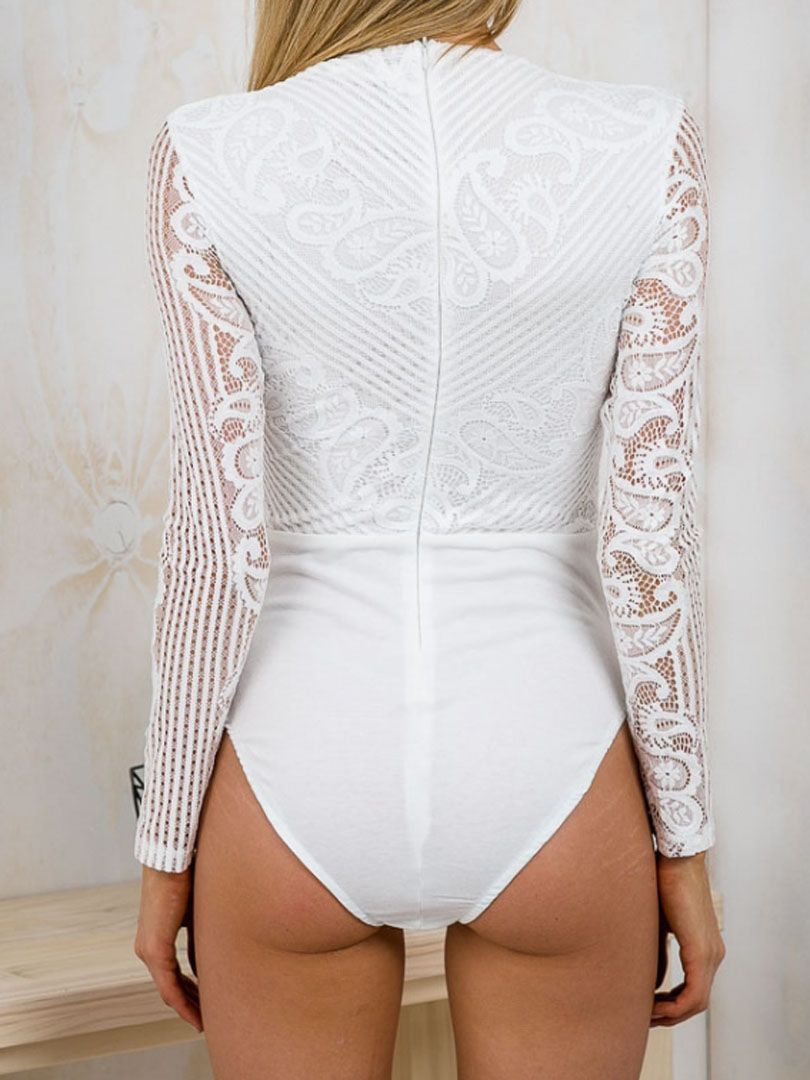 f4d776f2b White Strappy Front Crochet Lace Long Sleeve Bodysuit