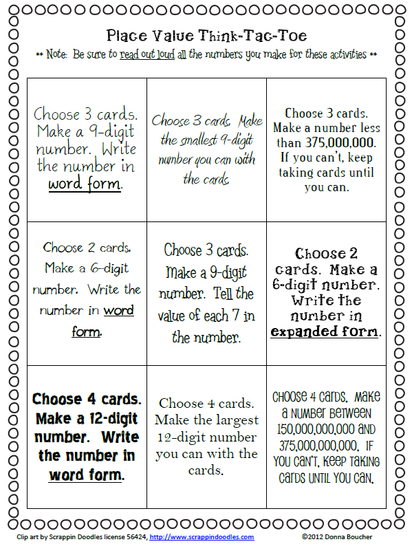 Place Value I Can Cards And Choice Board