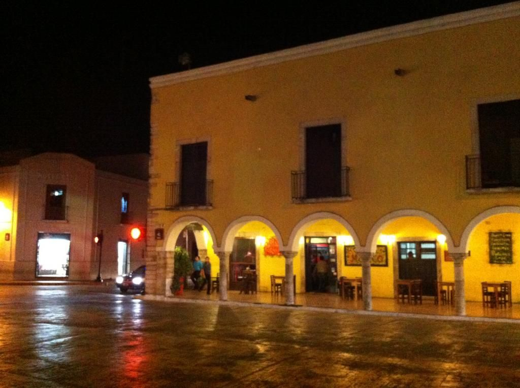 Valladolid - Shops on the Town Square at Night