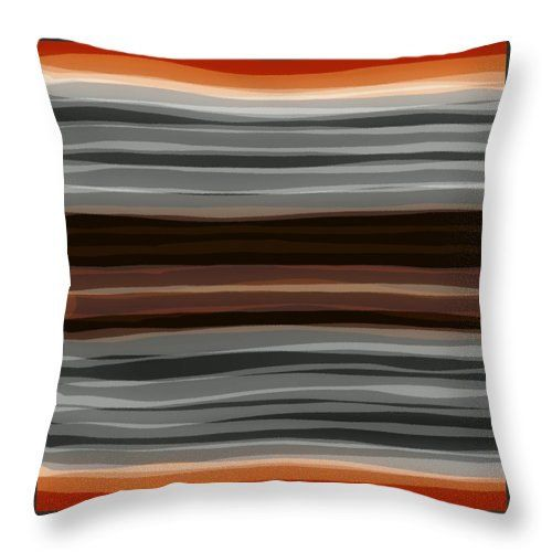 Orange Gray Abstract Pillow,Unique Designer Brown Contemporar ...