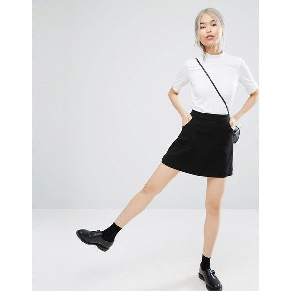 Monki A-line Pocket Skirt ($34) ❤ liked on Polyvore featuring skirts, black, high waisted knee length skirt, tall skirts, high waisted a line skirt, high-waisted skirts and high-waist skirt