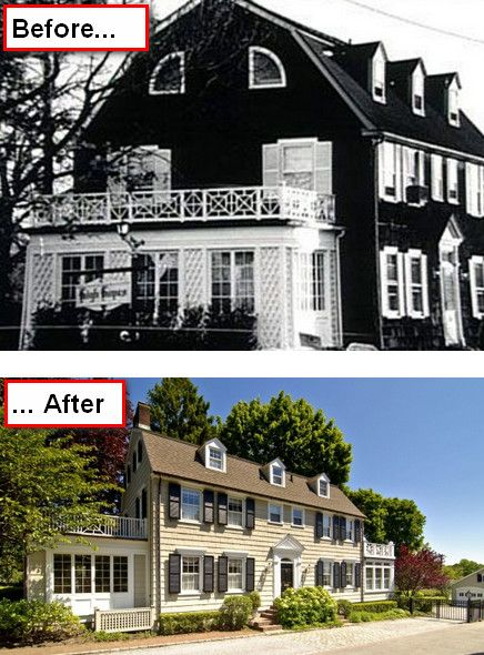 The Amityville Horror house then and now - still wouldn't want to sleep in there alone;)