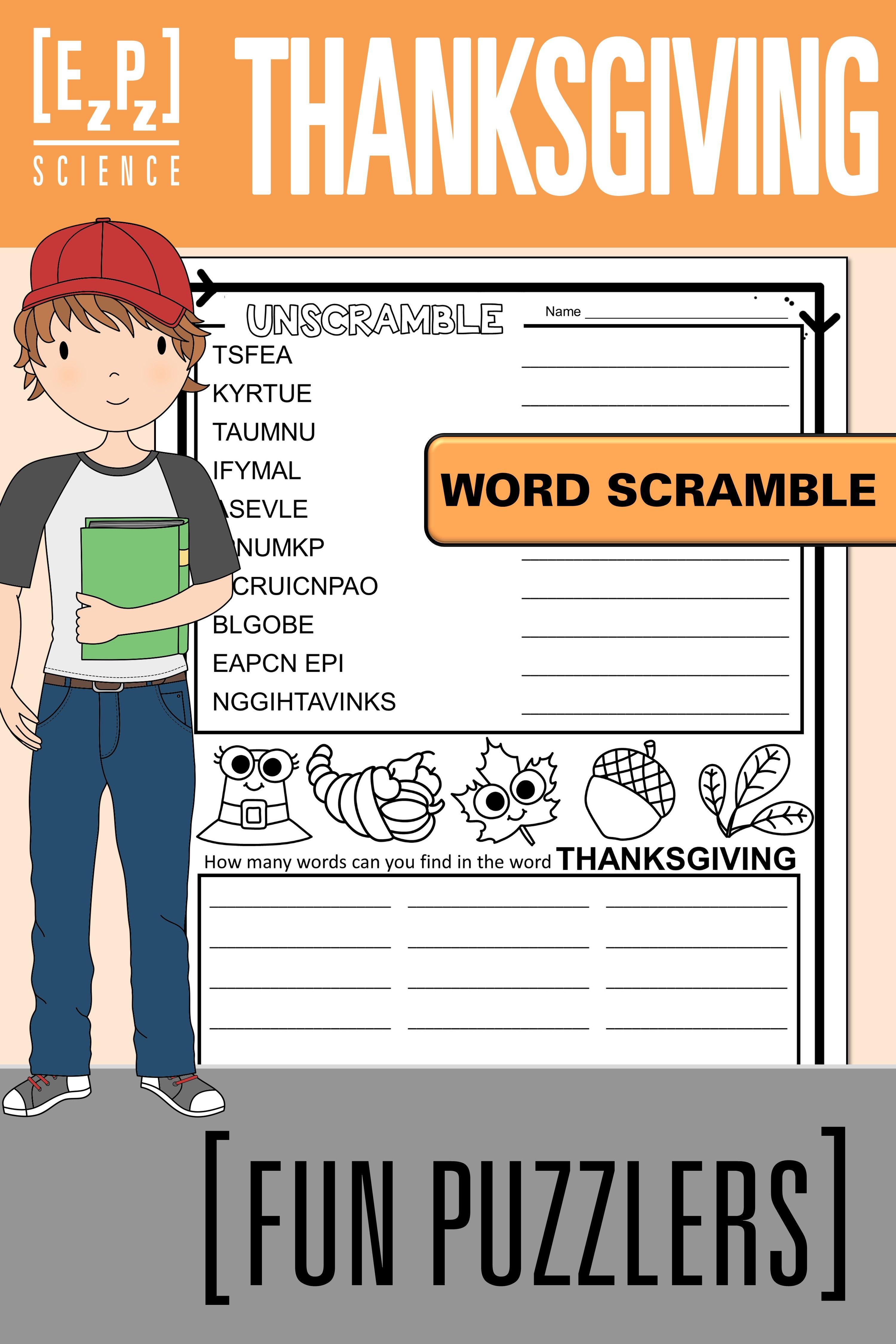 Thanksgiving Word Scramble Fun Puzzler