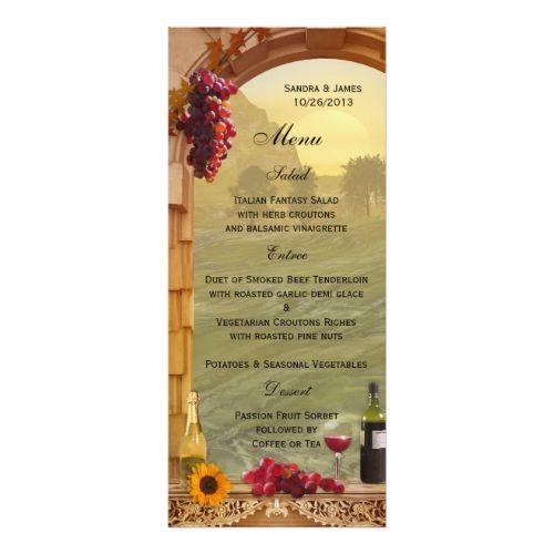 Vineyard Fall Wedding Or Thanksgiving Dinner Menu Card  Fall
