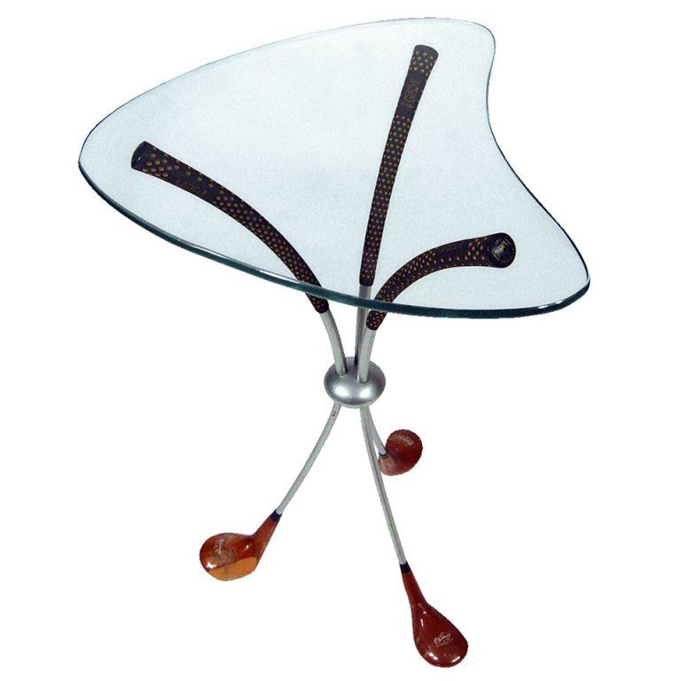 Playful Biomorphic Golf Club Side Table