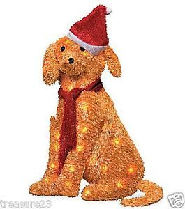 34 Pre Lit Lighted Golden Retriever Dog Outdoor Christmas Holiday