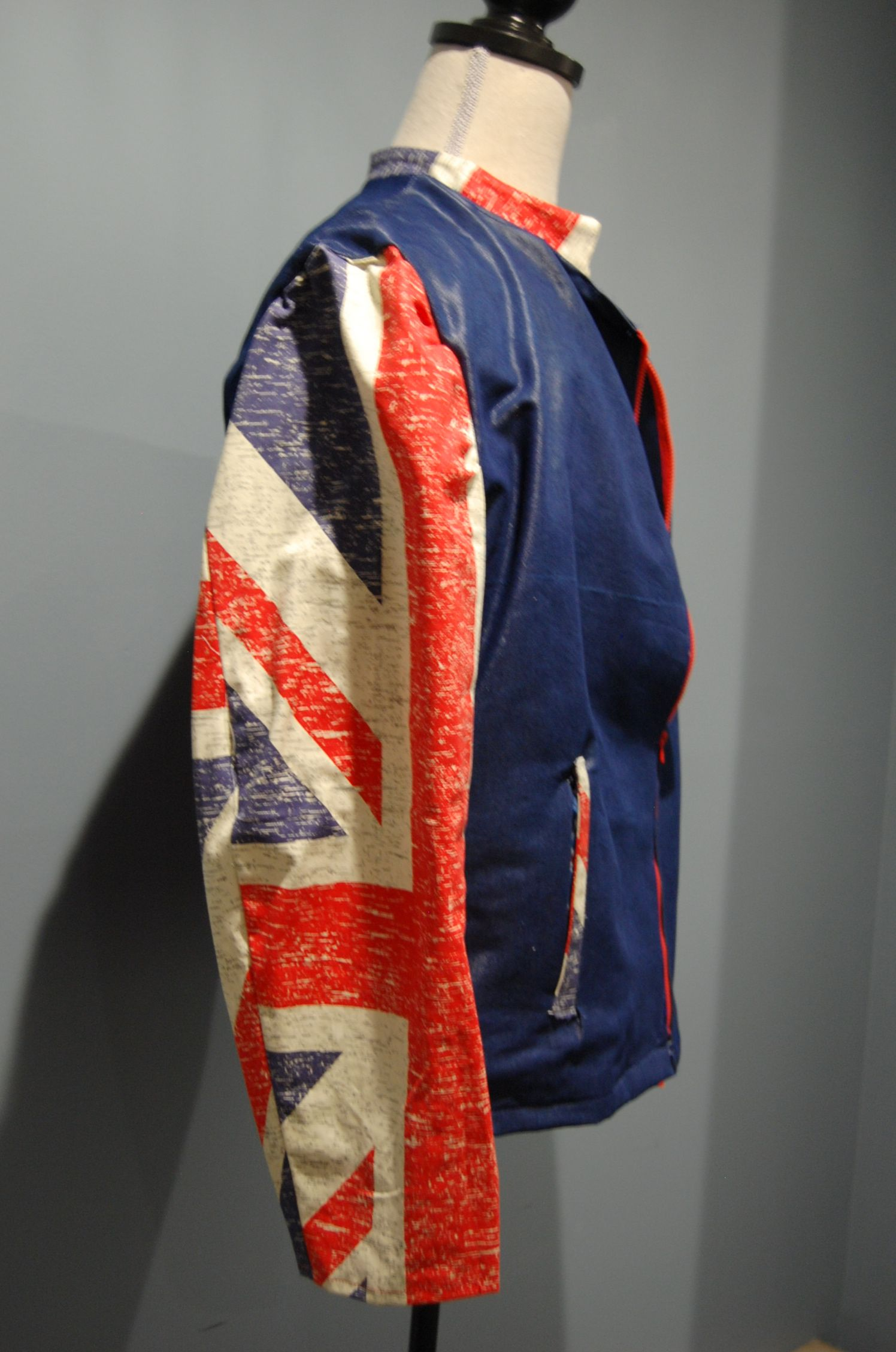 ef33cab42b8 Union Jack bomber jacket. Sleeves are made from PVC aprons. By  EuroCouturist.