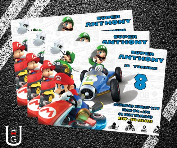 Super Mario Kart Birthday Party Invitation Super mario kart Mario