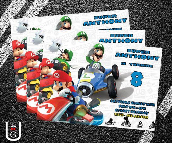 Super Mario Kart Birthday Party Invitation by UberGeekDesigns – Mario Kart Party Invitations