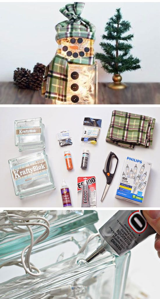 How to Make a Lighted Glass Block Snowman | Click Pic for 22 DIY ...