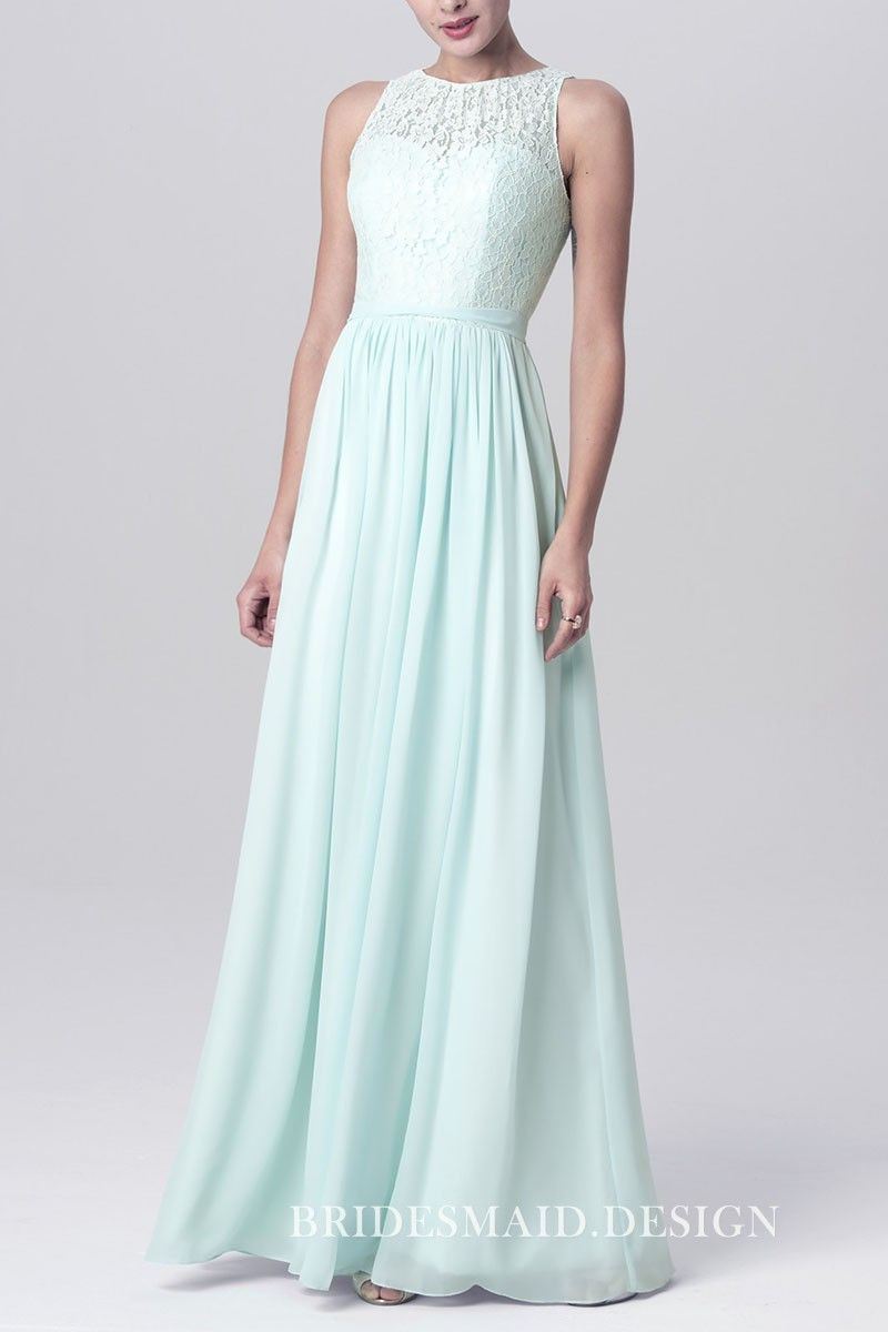 Mint lace and chiffon sleeveless illusion sweetheart aline long