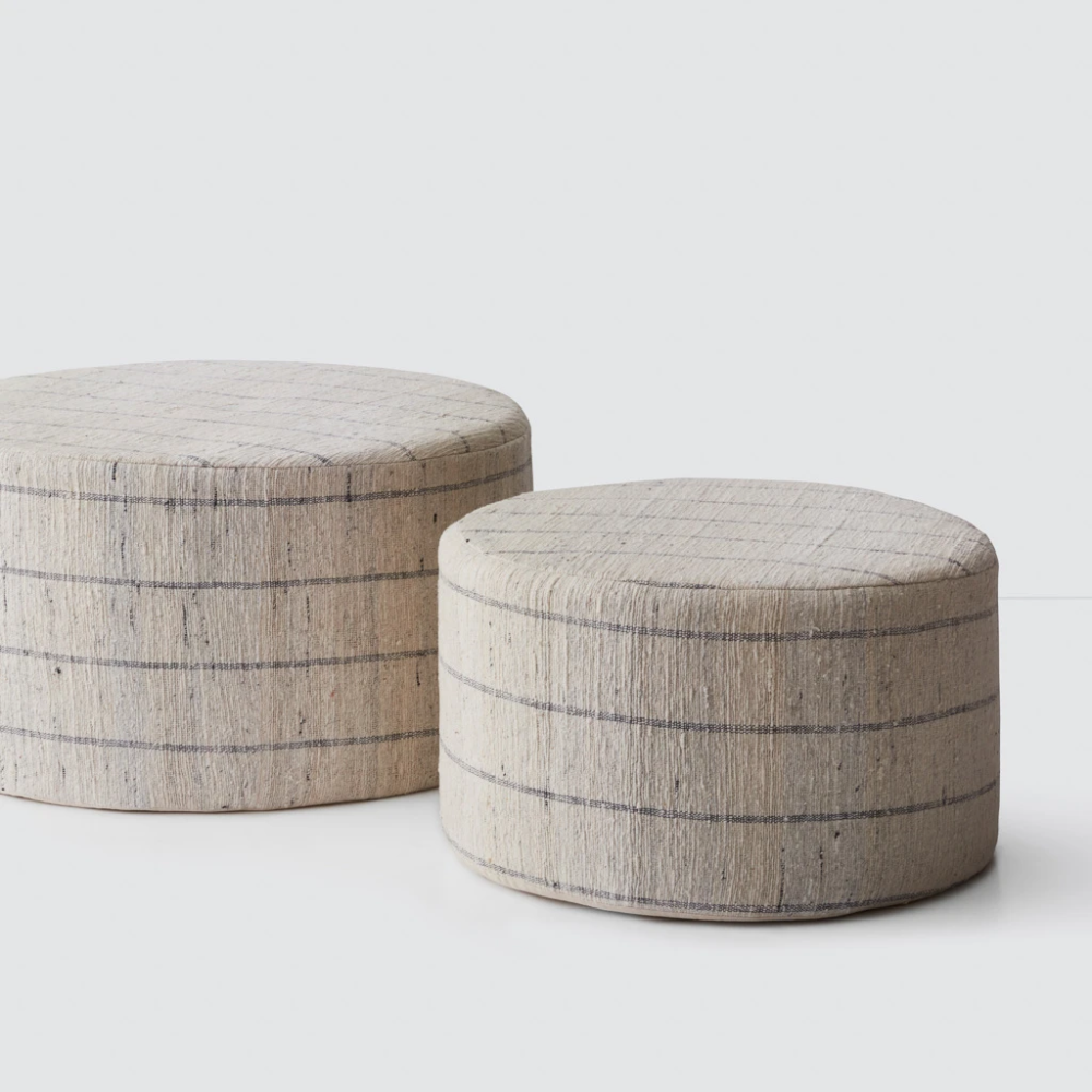 Large Cotton Ottomans Poufs In 2020 Upholstered Ottoman Ottoman Hand Crafted Furniture