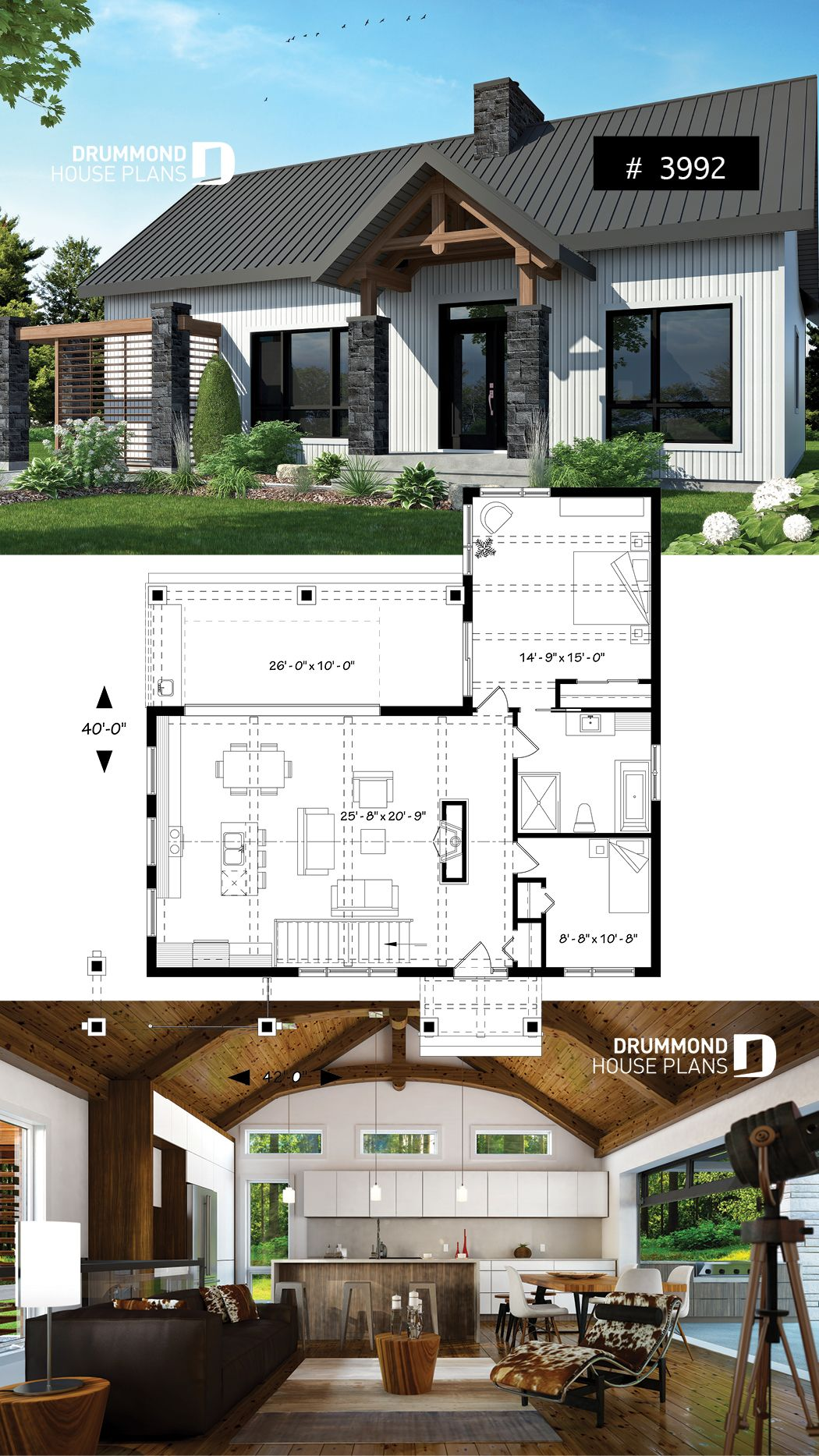 Discover The Plan 3992 Olympe Which Will Please You For Its 2 Bedrooms And For Its Scandinavian Styles Craftsman House Plans Architectural Design House Plans Farmhouse Style House Plans