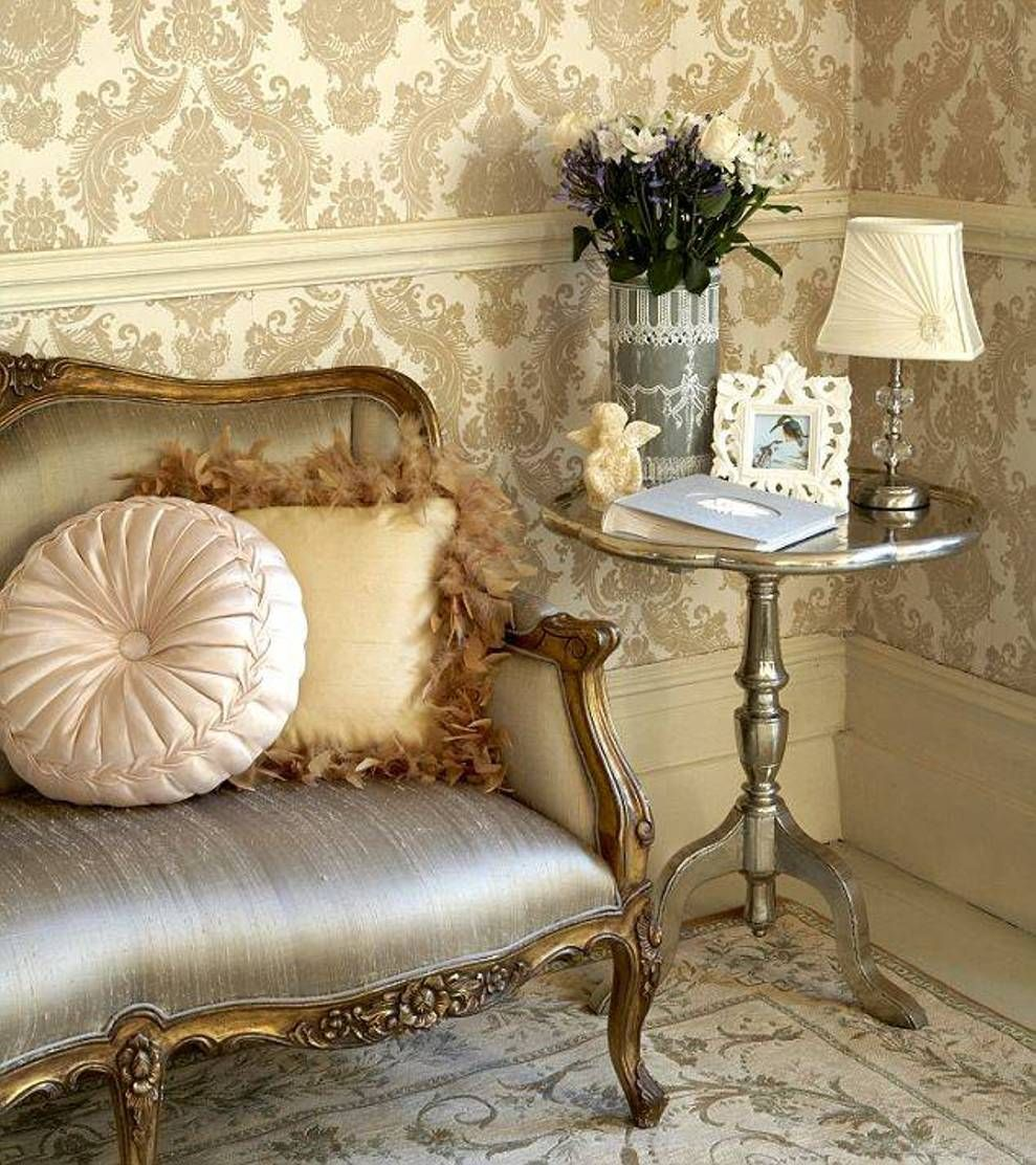 Chair Rail Wallpaper Part - 16: Home Design And Decor , Gorgeous Rich Damask Wallpaper : Living Room With  Victorian Chair And