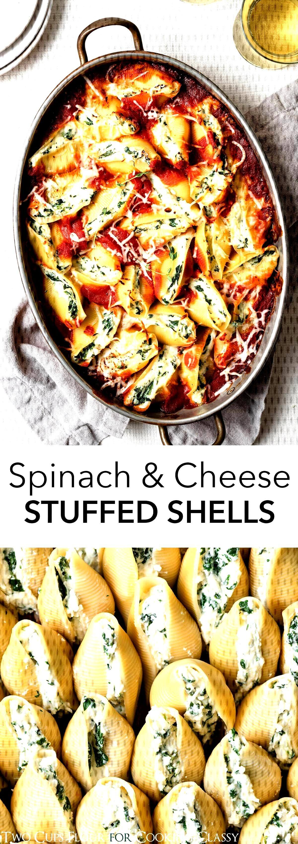 Spinach and Cheese Stuffed Shells - Hearty stuffed shells made with three cheeses, spinach, herbs,