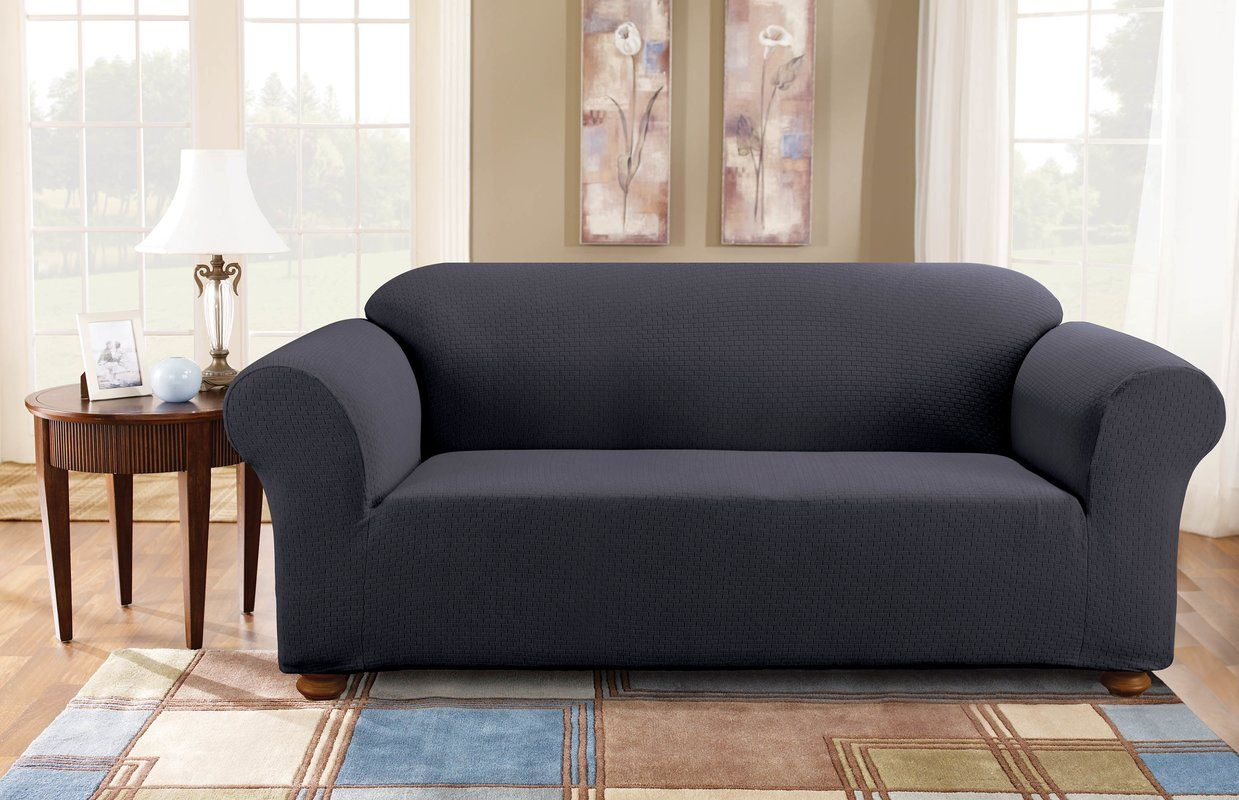 Simple Stretch Subway Box Cushion Sofa Slipcover Cushions On Sofa Slipcovered Sofa Furniture Covers Slipcovers