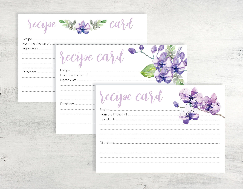 purple recipe card printable recipe card printable 4x6 recipe card printable recipe card