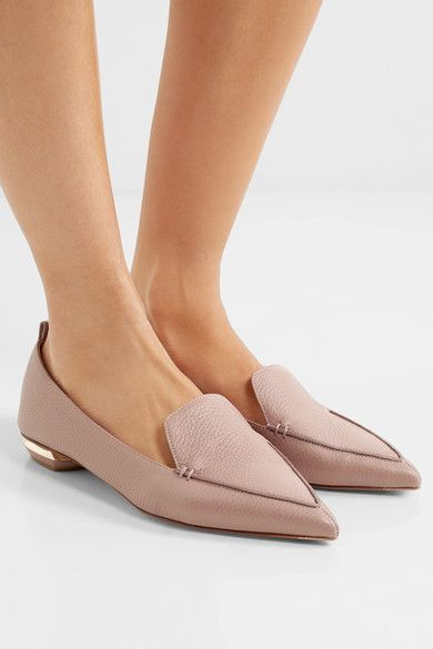 71bffea6a2e Sculpted gold heel measures approximately 20mm  1 inch Blush textured-leather  Slip on Designer color  Lilac Pink Made in Italy
