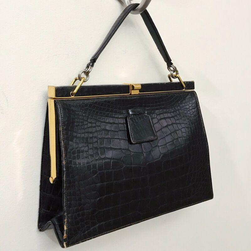 Mark Cross Black Crocodile Alligator Top Handle Box Grace Clasp Crossbody Bag Womens Bags Handbags Ebay Link In 2020 Shoulder Bag Bags Handbags Bag Lady