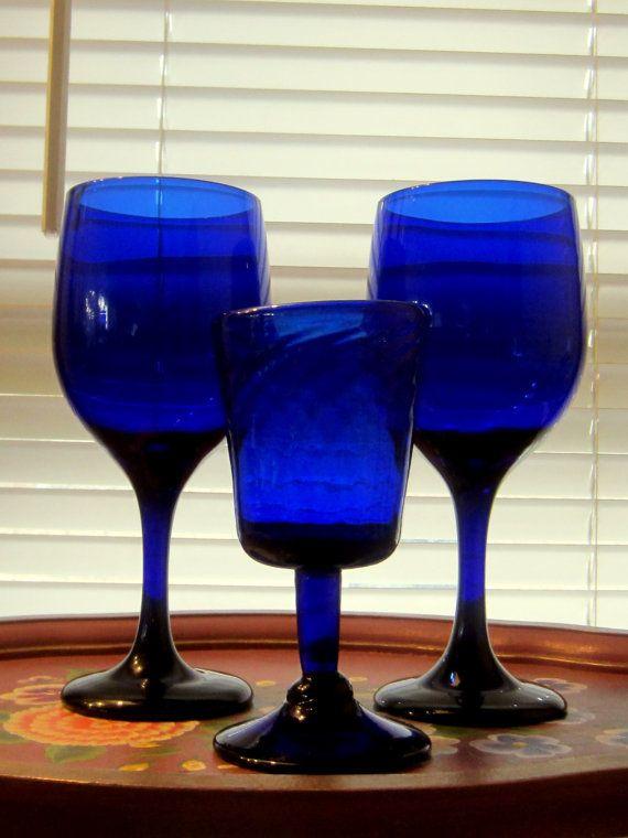 Vintage Colbalt Blue Set of 2 Stem Ware by JewelsRosesNRust, $28.50