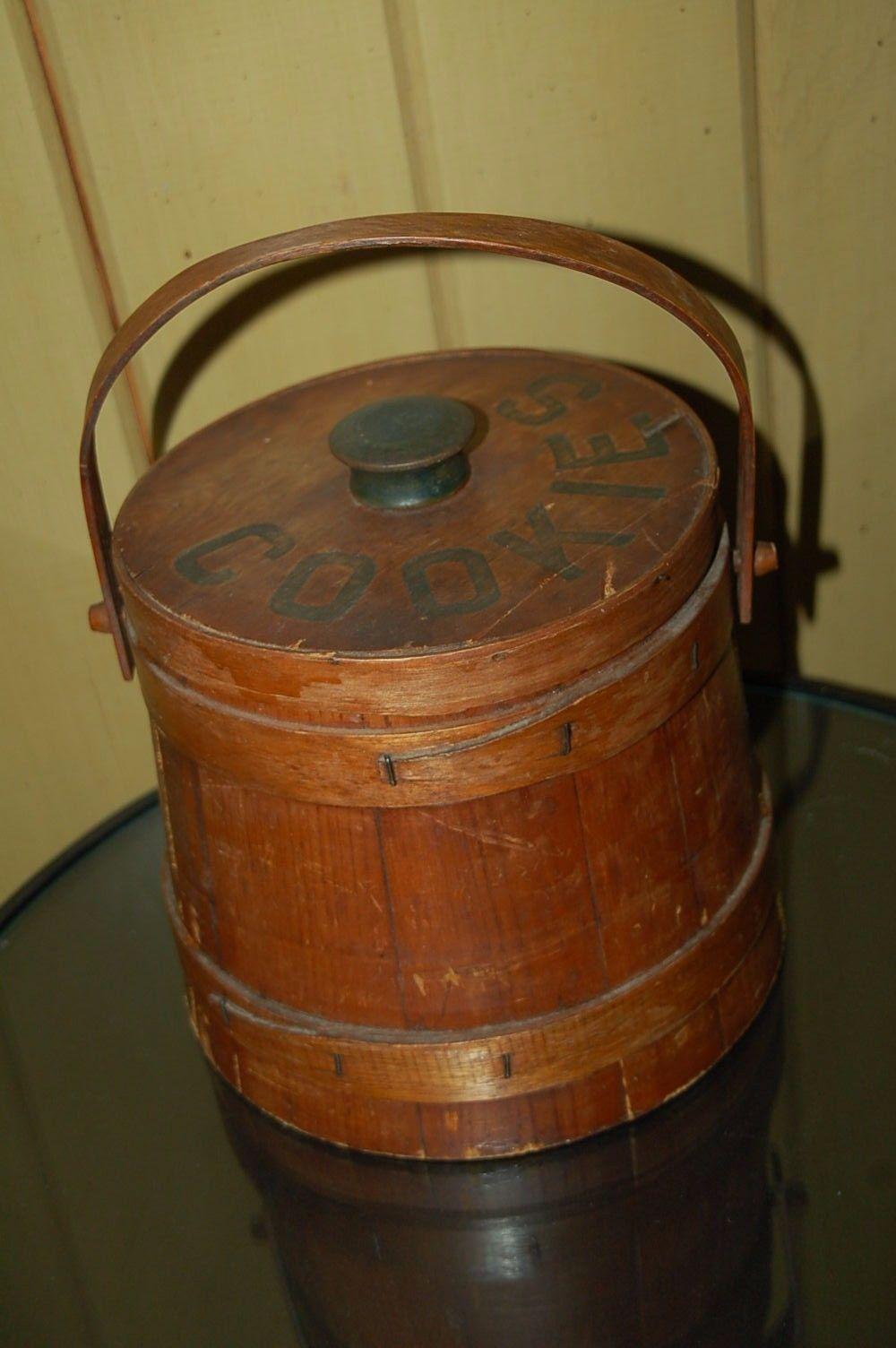 Vintage Wooden Barrel Cookie Jar Container Wood Handle 1950 S Jar Containers Wooden Barrel Cookie Jars