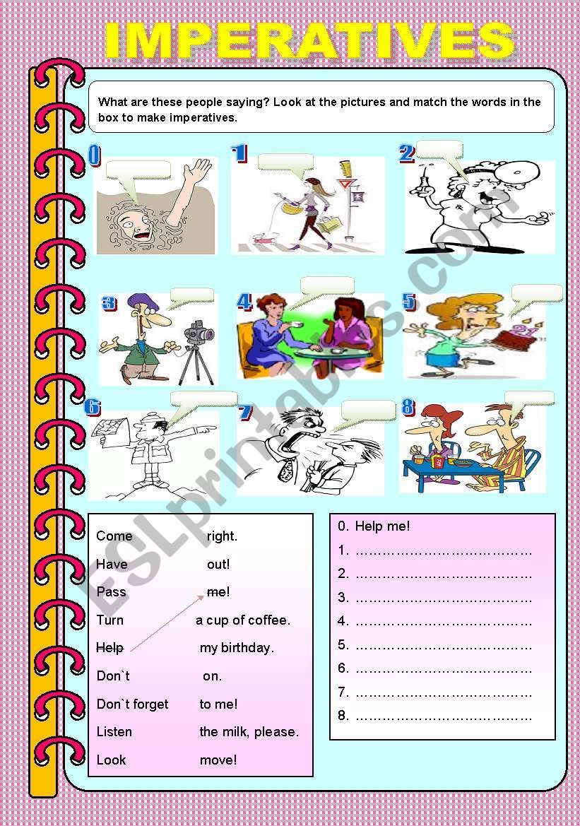 Make Imperatives Use The Pictures Then Match And Write Them It S Easy It S Fun Grammar For Kids Grammar Worksheets English Activities [ 1169 x 821 Pixel ]