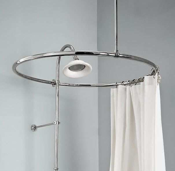 Circular Shower Curtain Rod For Clawfoot Tub Round Shower Curtain Rod Shower Curtain Rods Primitive Bathrooms