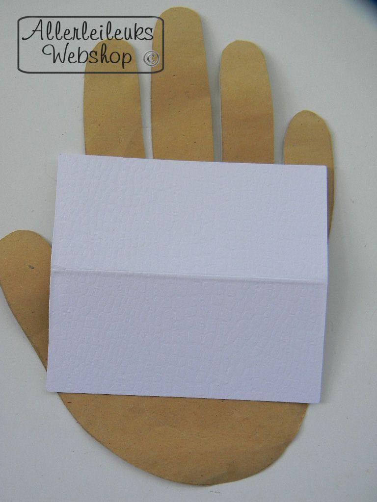 Tafelkaartje naamkaartje wit met structuur 9x4cm