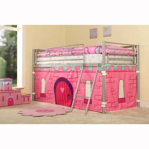 kids princess metal mid sleeper girls cabin bunk bed tent included