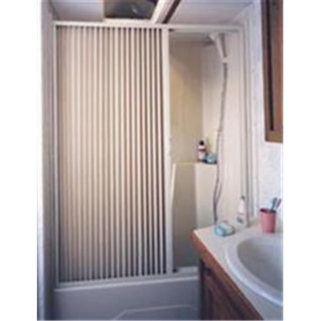 Pleated Shower Door, White