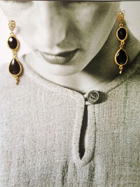 Dangle Earrings long earrings fashion Jewelry black agate stones gold large  bold simple gemstone earrings israel on Wanelo 7d0e2963c5