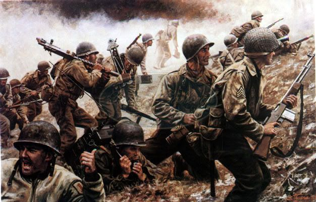 Though wounded, Captain Bobbie E. Brown leads his men up a sell-shattered hill near Aachen, Germany, once incongruously topped by a Christian cross. While Brown wins the Medal of Honor for his leadership, his men win and hold Crucifix Hill during the plunge into heart of Nazism.