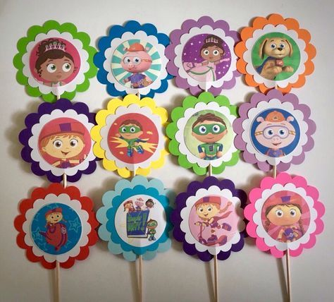 Super Why Birthday Favors 12 Decorations Supper Cupcake Toppers Or
