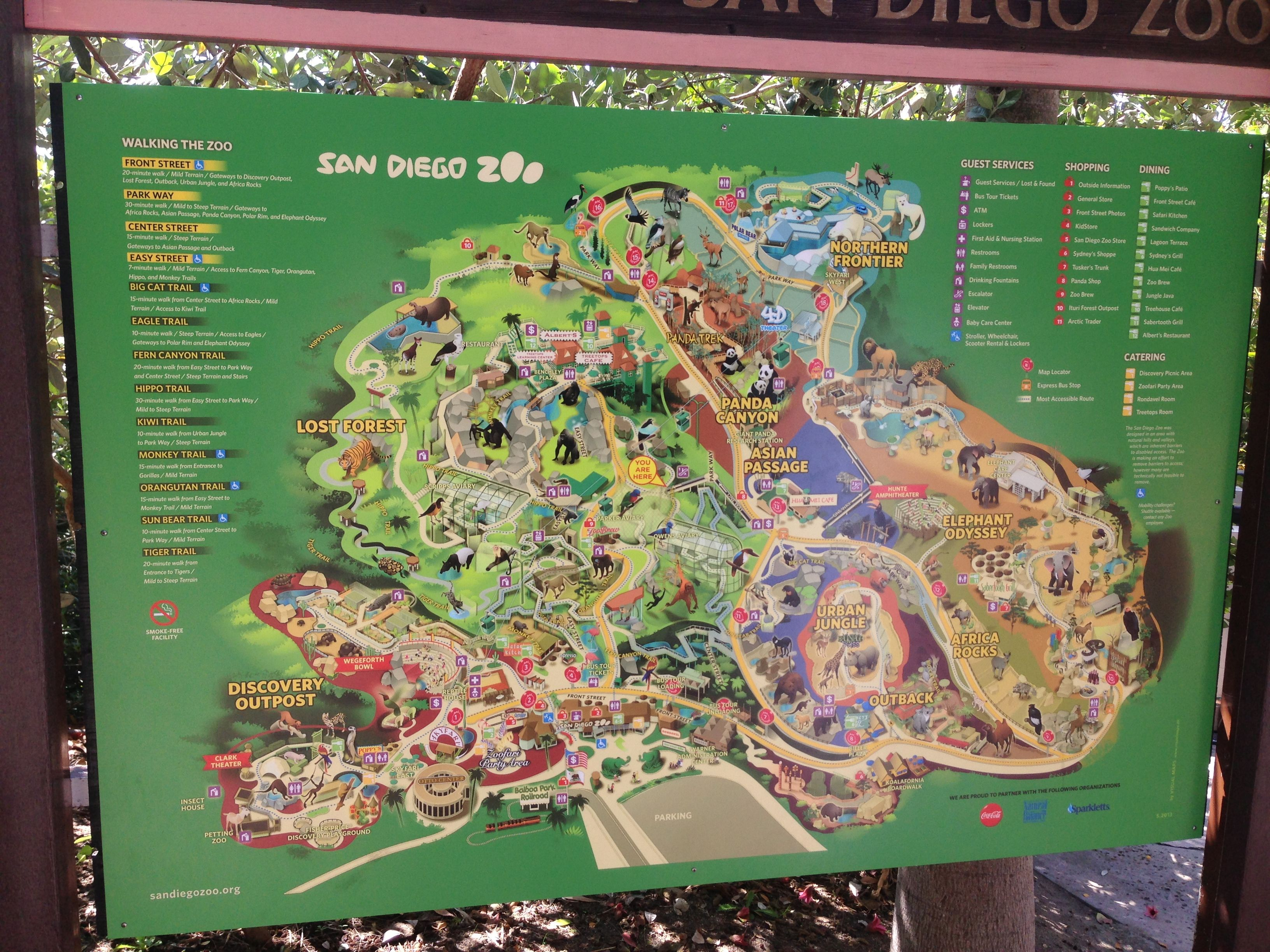 SanDiego Zoo map USA California august 2013 Observations