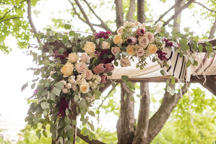 University Of Michigan League Wedding Arch Chuppah Flowers In Blush