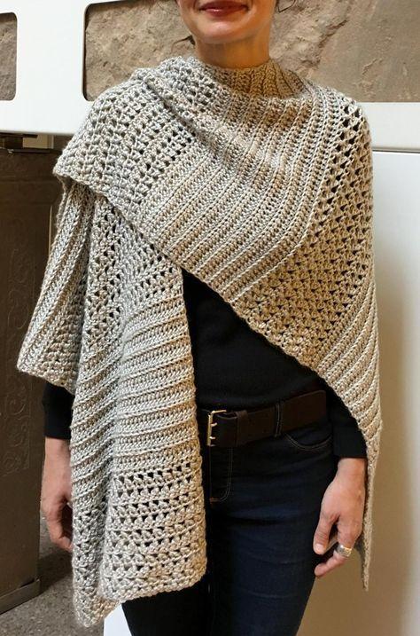 Crochet Ruana Pattern: Rockin-It Ruana Crochet pattern by KnotYourselfOut #shawlcrochetpattern
