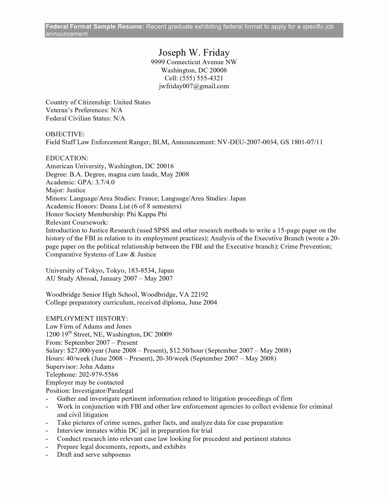 resume for federal job
