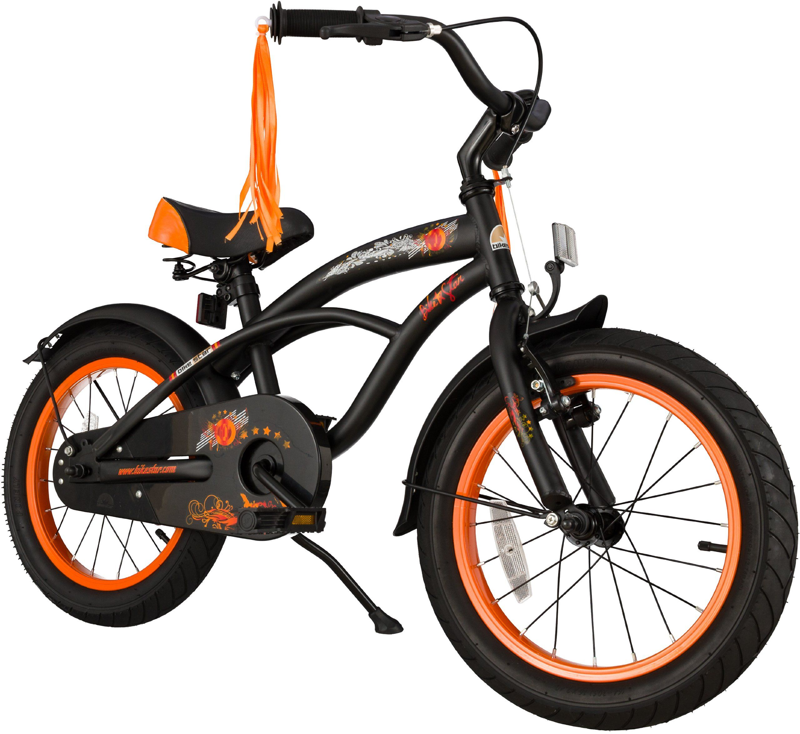 bike star 16 zoll kinder fahrrad cruiser schwarz matt sport freizeit. Black Bedroom Furniture Sets. Home Design Ideas