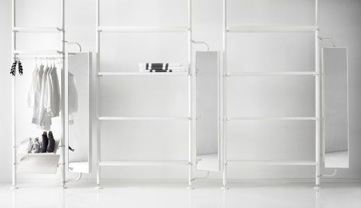 stolmen system combine this idea with the pipe shelving. Black Bedroom Furniture Sets. Home Design Ideas
